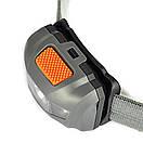 Туристический налобный фонарик серый (3 ААА) Налобний ліхтарик LED (светодиодный), фото 8