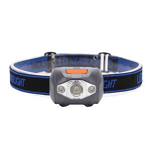 Туристический налобный фонарик серый (3 ААА) Налобний ліхтарик LED (светодиодный)