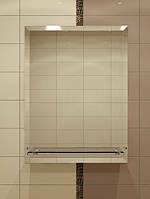Зеркало с фацетом и полкой для ванной 70х50 см