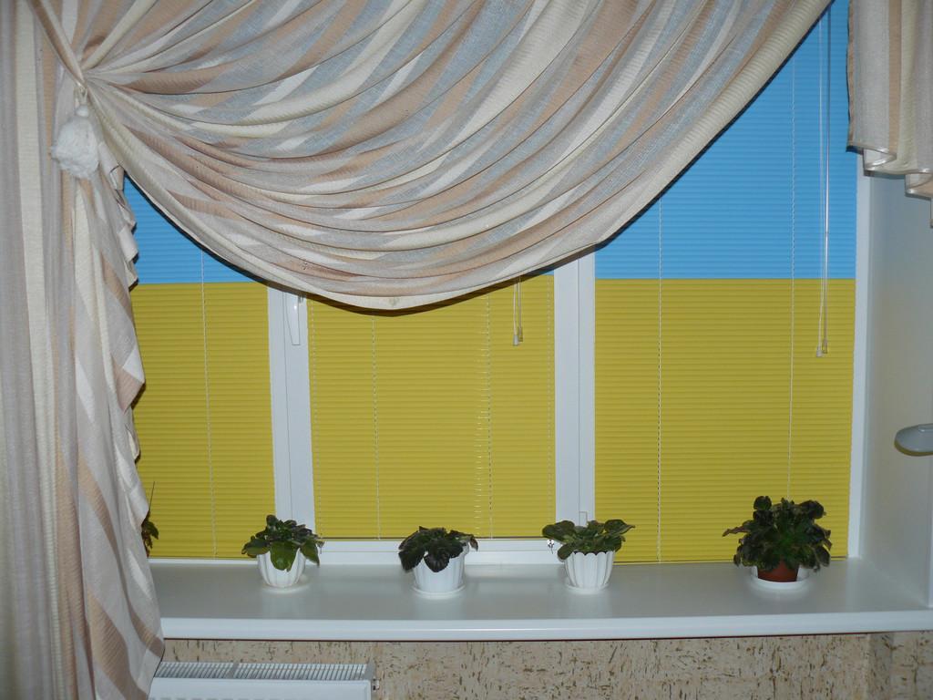 Окно с пластиковыми откосами и гор. жалюзи