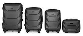 Набор чемоданов 4 штуки в 1 Fly К147 на 4 колесах Темно-серый