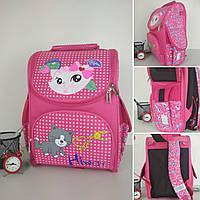 Школьный каркасный розовый ранец для девочки 34*25*15 см