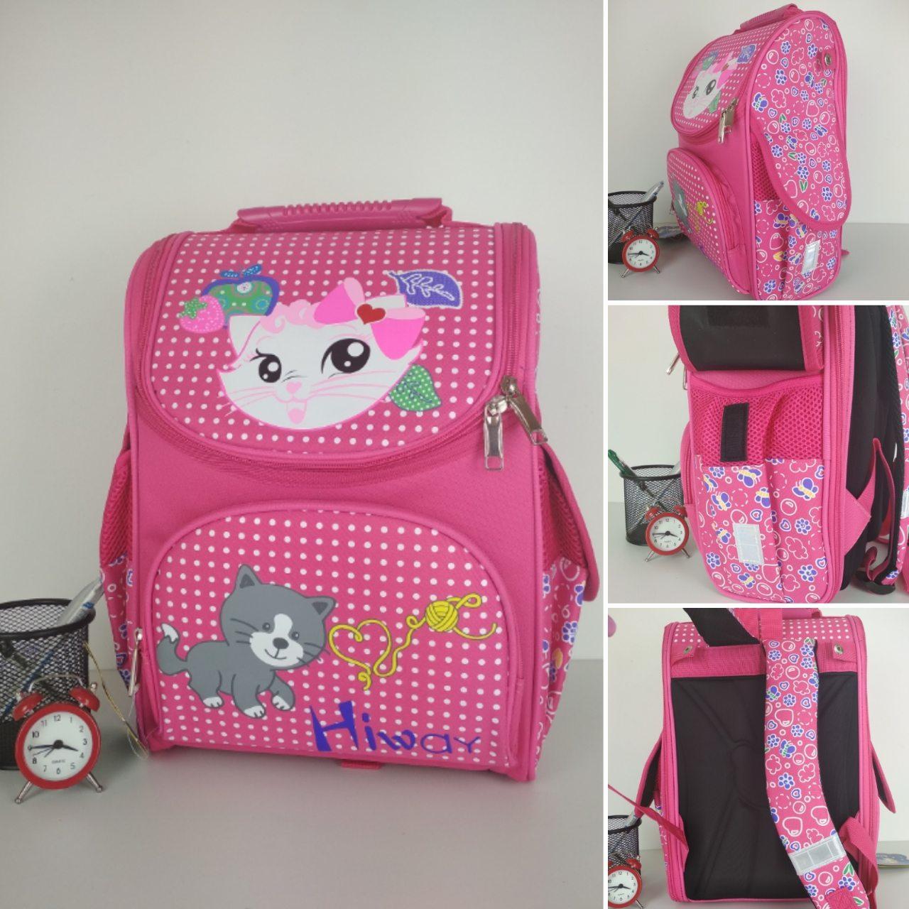 Школьный каркасный розовый ранец для девочки 34*25*15 см, фото 1