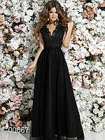 Платье в пол для вечернего выхода с гипюром и сеткой