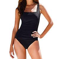 Женский купальник черный спереди с драпировкой большого размера 50, 52, 54  р