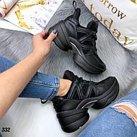 Кроссовки женские копия бренда черные 332, фото 1