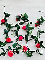 Искусственная лиана с розами (ярко-розовая)2 метра