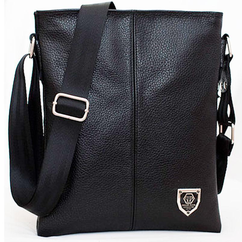 Кожаная мужская сумка philipp plein 27х23 см. Мужская сумка из натуральной кожи