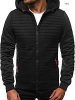 Куртка мужская с капюшоном J.Style черная в горизонтальную полоску