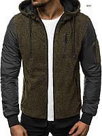Куртка мужская оливковая J.Style с капюшоном