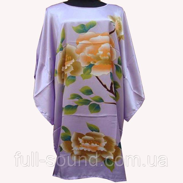 Шелковое  платье кимоно розы