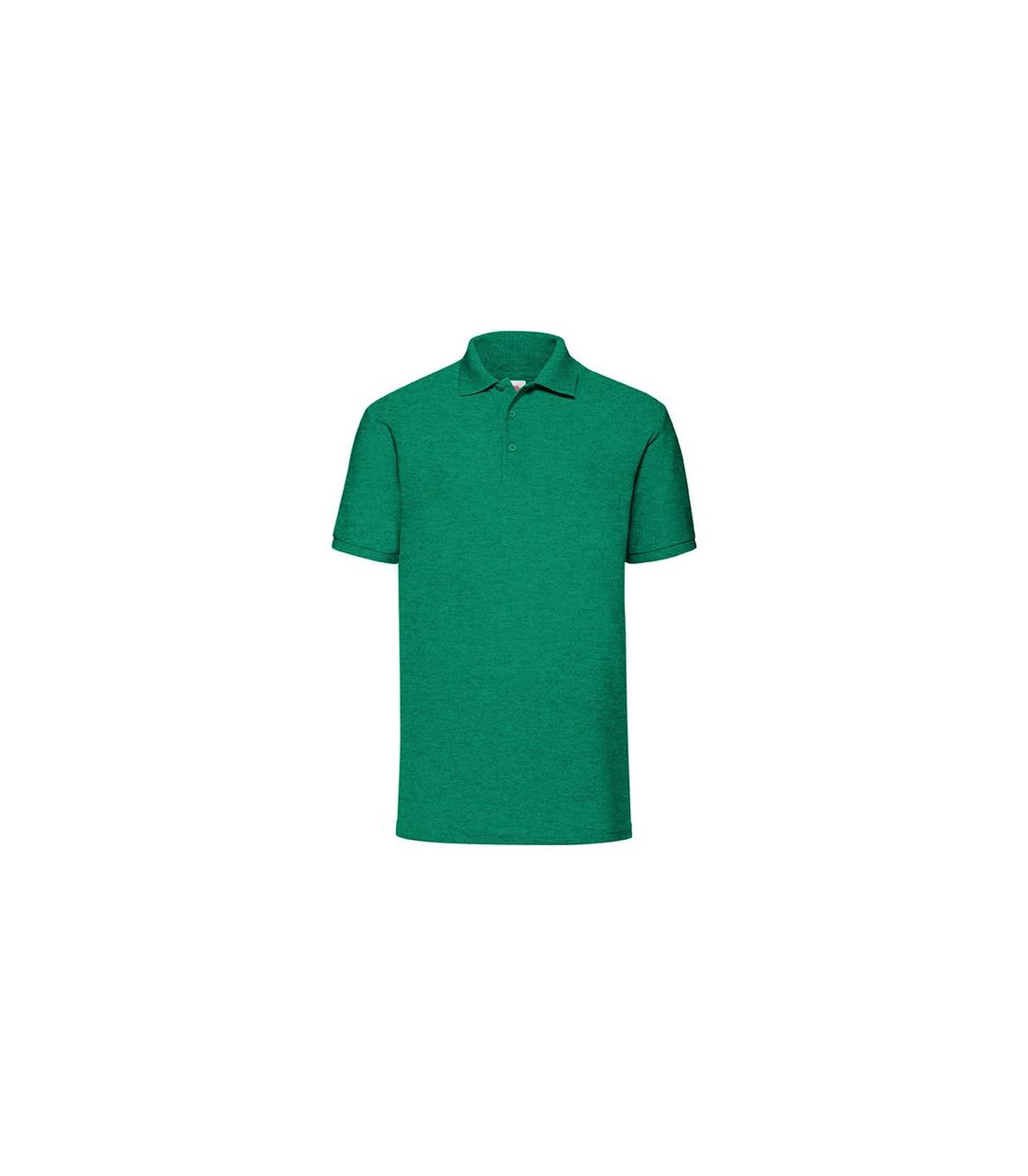 Мужская футболка поло зеленая меланж 402-RX