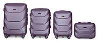 Набор чемоданов 4 штуки в 1 Fly К147 на 4 колесах Серебряно-фиолетовый