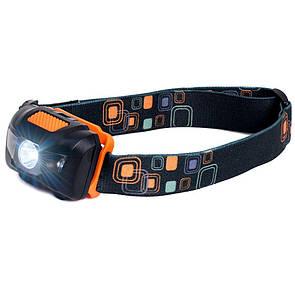Туристический налобный фонарик черный с оранжевым (3 ААА) Налобний ліхтарик LED (светодиодный)