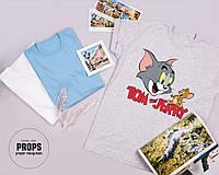 """Меланжевая женская футболка с принтом """"Том и Джерри"""", 100% хлопок"""