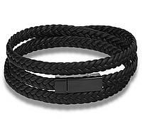 Мужской кожаный браслет Primo Long Rope с магнитной застежкой - Black