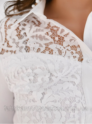 Нарядная женская рубашка с гипюром в большом размере Размеры 48,50,52, фото 2