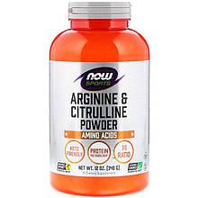 """Порошок аргініну та цитруліну NOW Foods, Sports """"Arginine & Citrulline Powder"""" (340 г)"""
