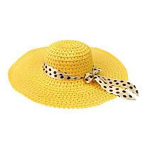 Пляжная женская шляпа с ленточкой в горошек желтый 150214