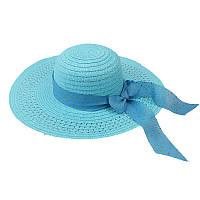 Пляжная женская шляпа с ленточкой и блестками голубая 150208
