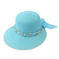 Пляжная женская шляпа с цепочкой маленькая голубая 150217