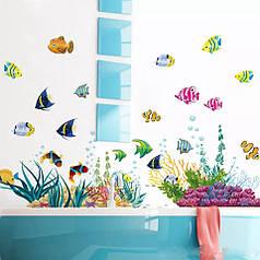 """Наклейка в ванную, на стены, шкаф, окна, зеркало """"рыбки в Красном море"""" 42*130см(лист 50*70см)"""