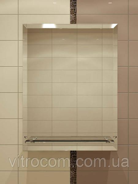 Зеркало с фацетом и полкой для ванной 70х55 см