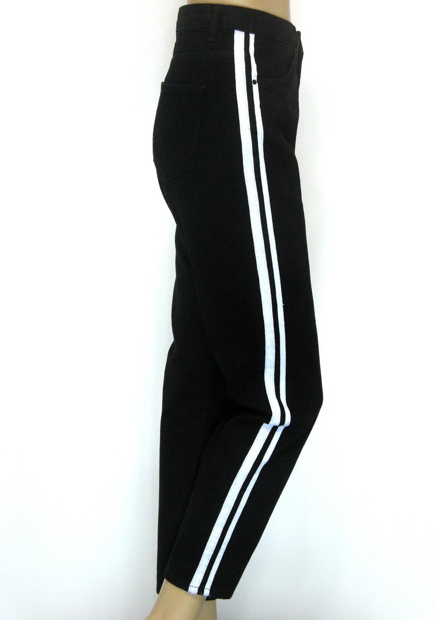 Мам джинси (Mom Jeans) чорні з білими лампасами батали