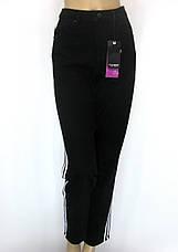 Мам джинси (Mom Jeans) чорні з білими лампасами батали, фото 2