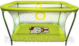 Детский игровой манежKinderBox - Салатовый с крупной сеткой Hello Kitty (km70)