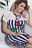 Плаття літнє у квітково-смугастий принт з гіпюрової вставкою зверху, полубатал, фото 10