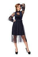 Элегантное вечернеетемно-синее платье