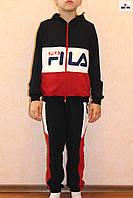 Спортивный костюм подростковый для мальчика красный Фила 32-40р.