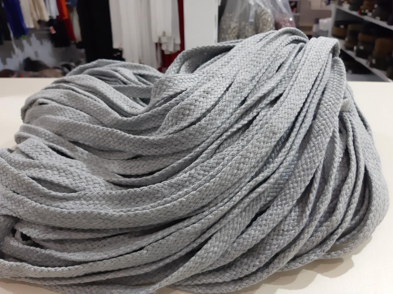 Шнур для одежды без наполнителя х/б 16мм цв серый светлый (уп 100м) Ф