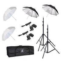 Комплект для фотостудии DOUBLE-4 (студийный набор - 4 зонта + 2 стойки + 2 лампы)