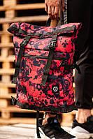 Большой городской рюкзак мужской Rolltop BEZET Red camo' 19