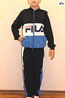 Подростковый спортивный костюм для мальчика и девочки синий Фила 32-40р.