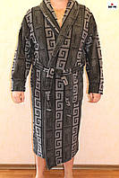 Мужской халат махровый теплый, длинный серый 48-58 р.