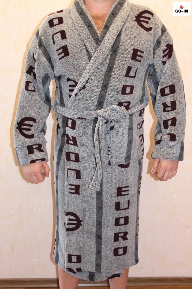 Мужской халат махровый теплый с капюшоном
