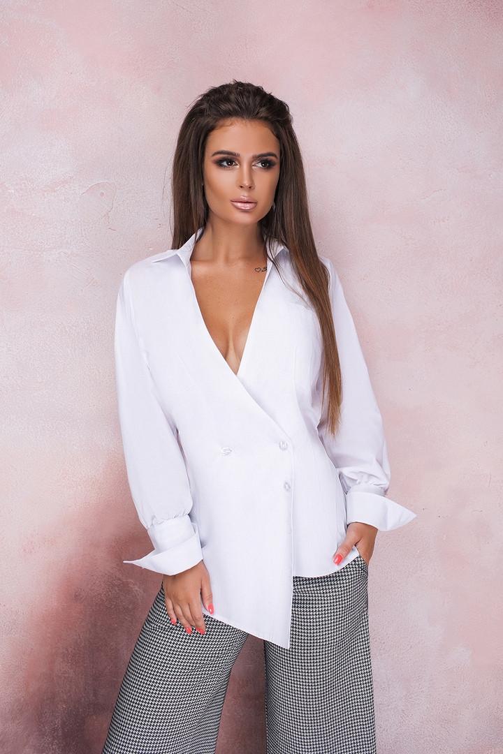 Женская стильная блузка рубашка длинный рукав воротник стойка белая коттон рубашечный размер: с, м, л