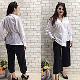 Женская стильная блузка рубашка длинный рукав воротник стойка белая коттон рубашечный размер: с, м, л, фото 2