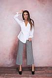 Женская стильная блузка рубашка длинный рукав воротник стойка белая коттон рубашечный размер: с, м, л, фото 4
