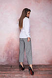 Женская стильная блузка рубашка длинный рукав воротник стойка белая коттон рубашечный размер: с, м, л, фото 5
