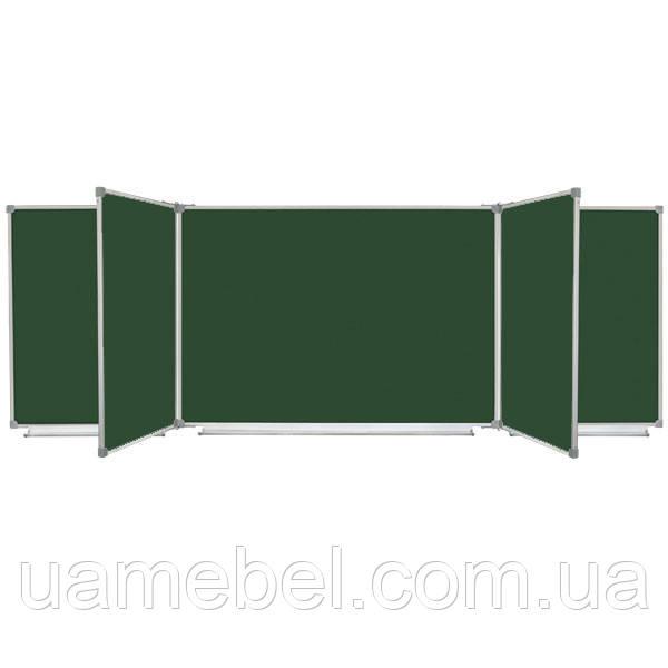 Школьная доска магнитная меловая, 7 поверхностная 300x100 см