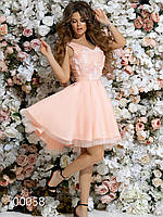Платье с маленьким шлейфом из габардина и гипюра с аппликацией, 00058 (Персиковый), Размер 42 (S)