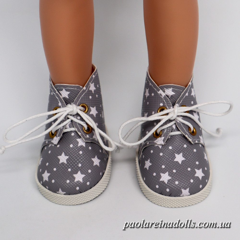 Ботиночки серые звездочки для кукол Паола Рейна