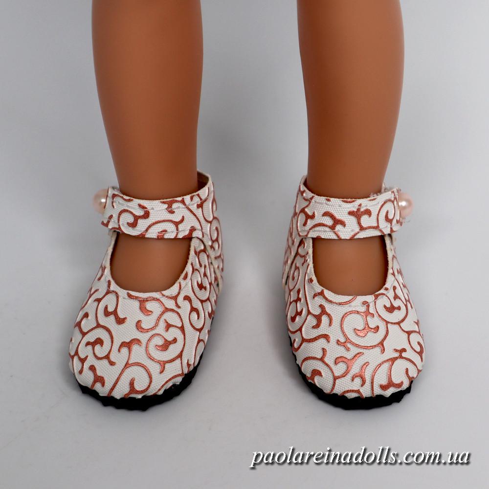 Туфли с ремешком белое золото для кукол Паола Рейна