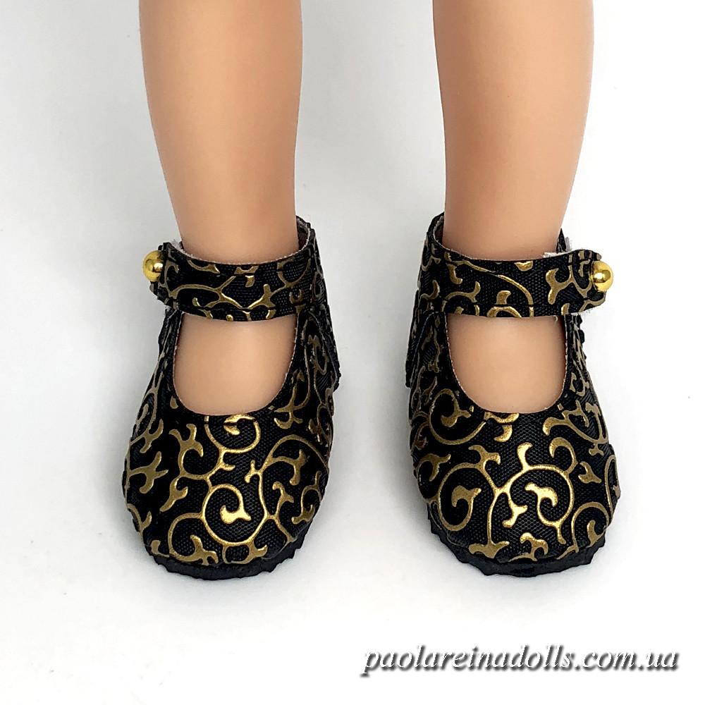 Туфли с ремешком черное золото для кукол Паола Рейна