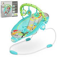 Детская шезлонг-качалка. Функция вибрации. Подвесные игрушки. Мелодии. 6316 Сине-зеленый