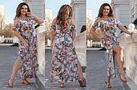 Красивое легкое длинное платье сарафан на бретелях в цветочный принт, батал большие размеры